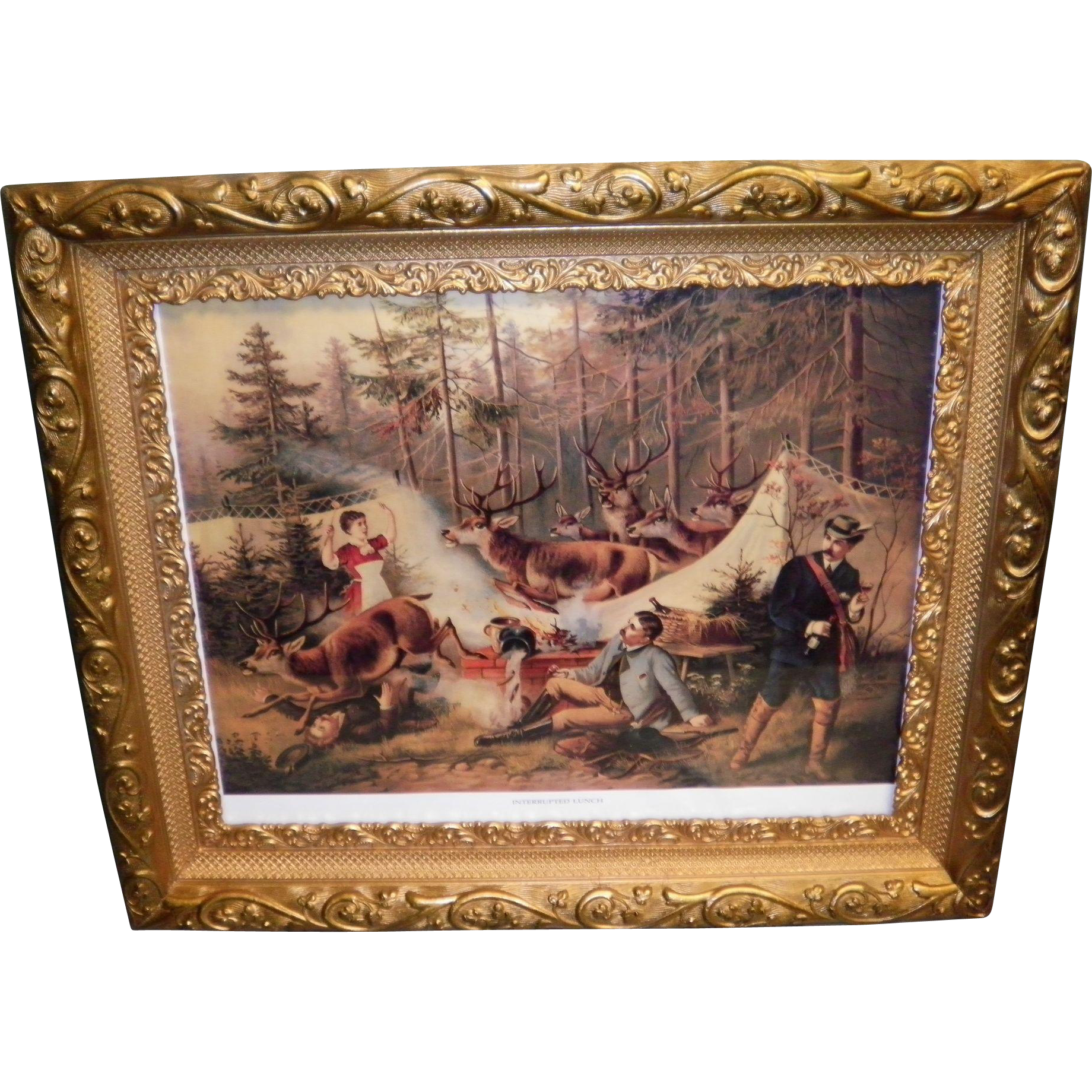 "Framed Chromolithograph Titled ""Interrupted Lunch"""