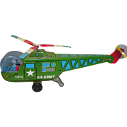 Vintage Tin Litho Friction US Army Helicopter