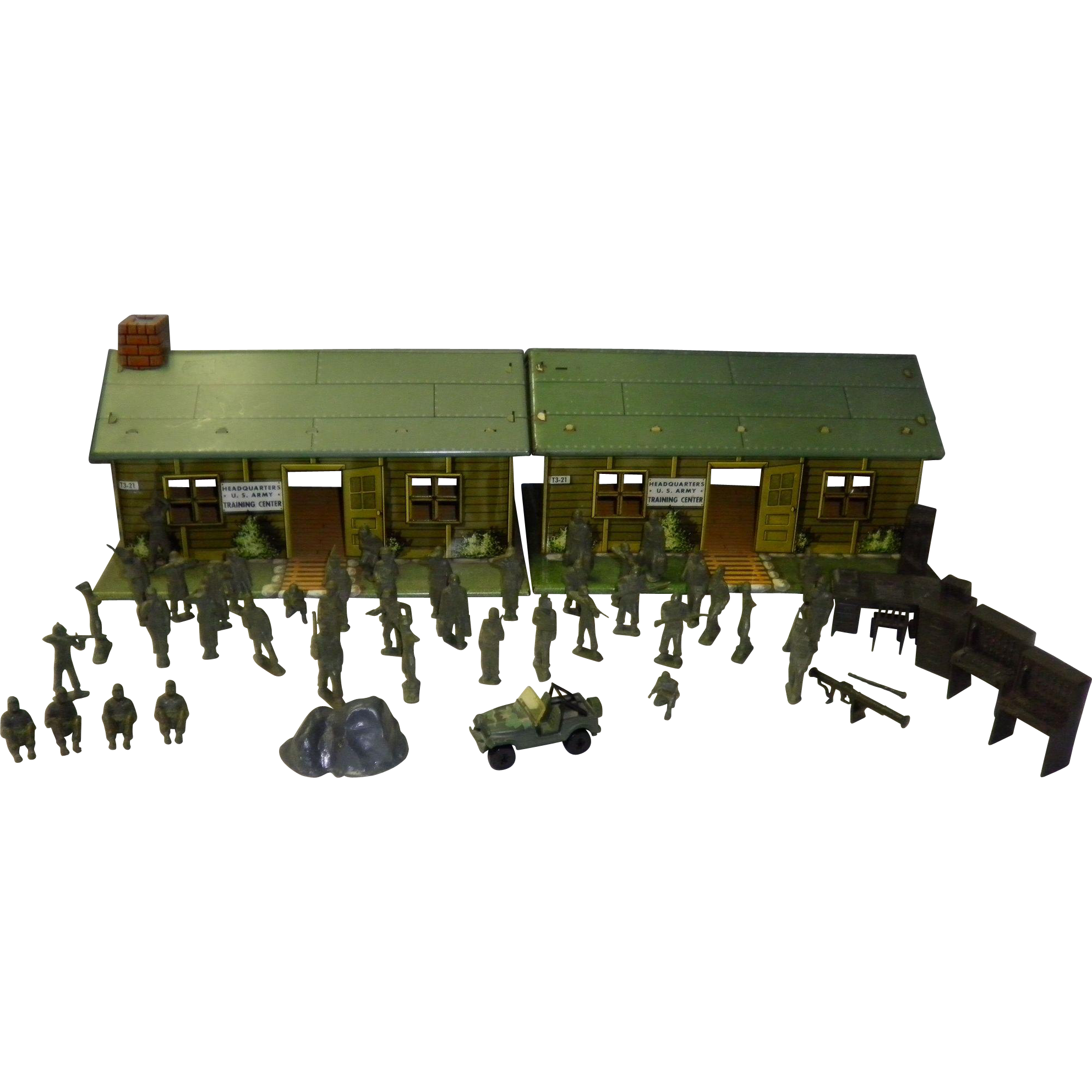 Two tin Litho US Army Headquarter Training Centers With Accessories