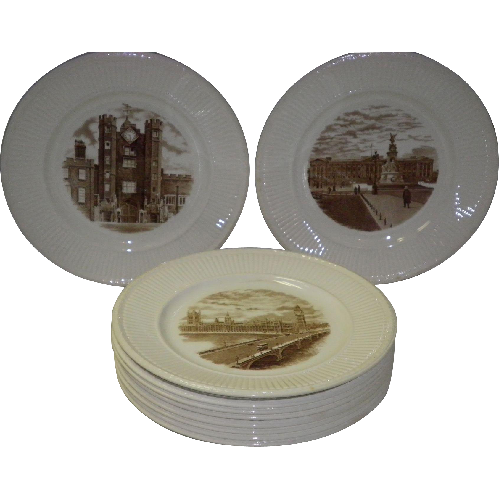 "Set Of 10 Wedgwood ""Old London Views"" Plates 1941 First Edition"