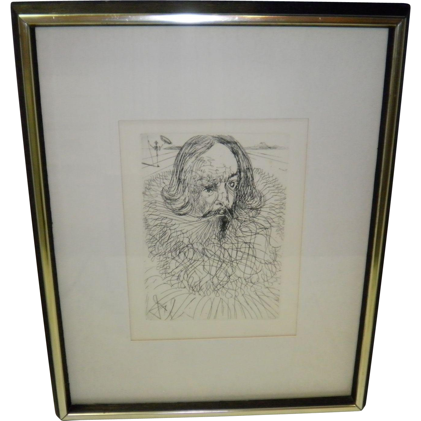 Cervanties By Dalli Original Etching Signed In Plate