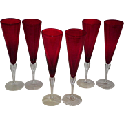 Set Of 6 Bohemian Czech Ruby Red Champagne Glasses / Flutes
