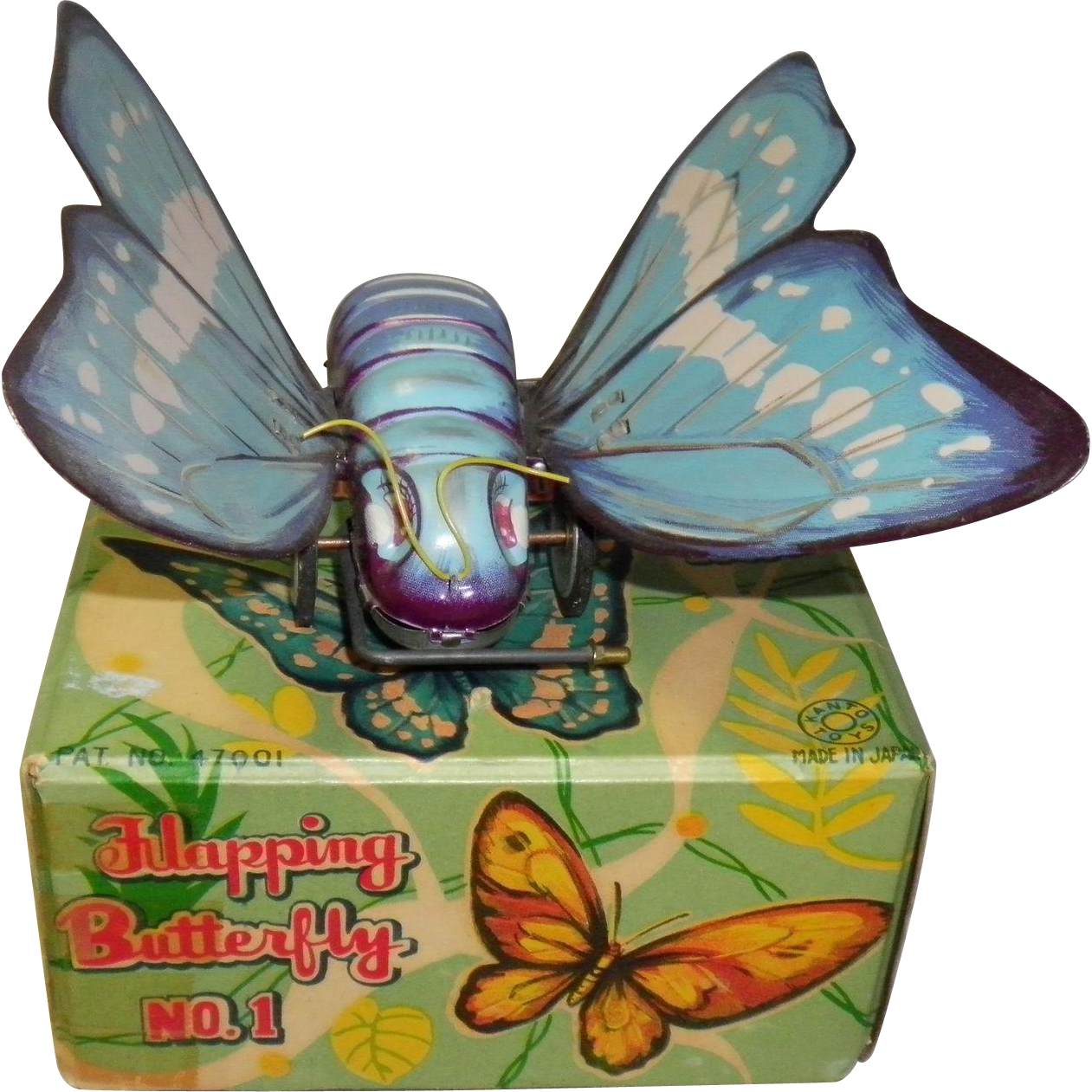 Vintage Key Wind Tin Litho Flapping Butterfly No.. 1 In Original Box