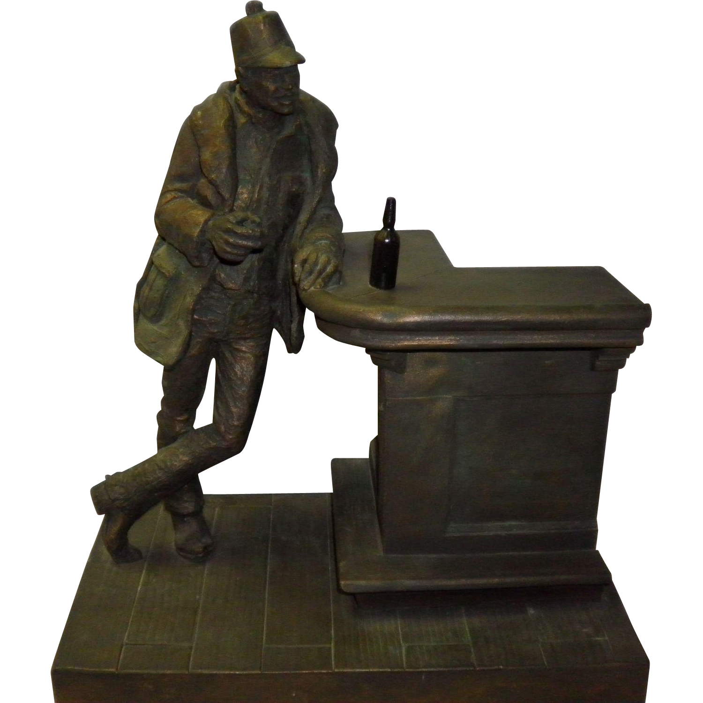 "Michael Garman Bronze Sculpture ""Bud Collins"" 1976"