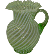 Vintage Green Opalescent Swirl Pitcher