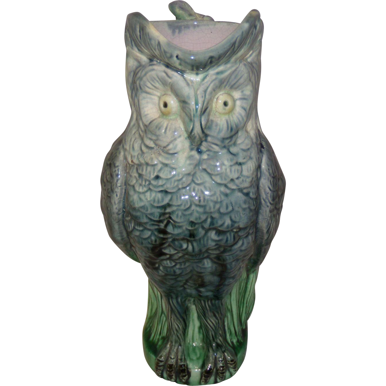 Antique Majolica Owl Pitcher