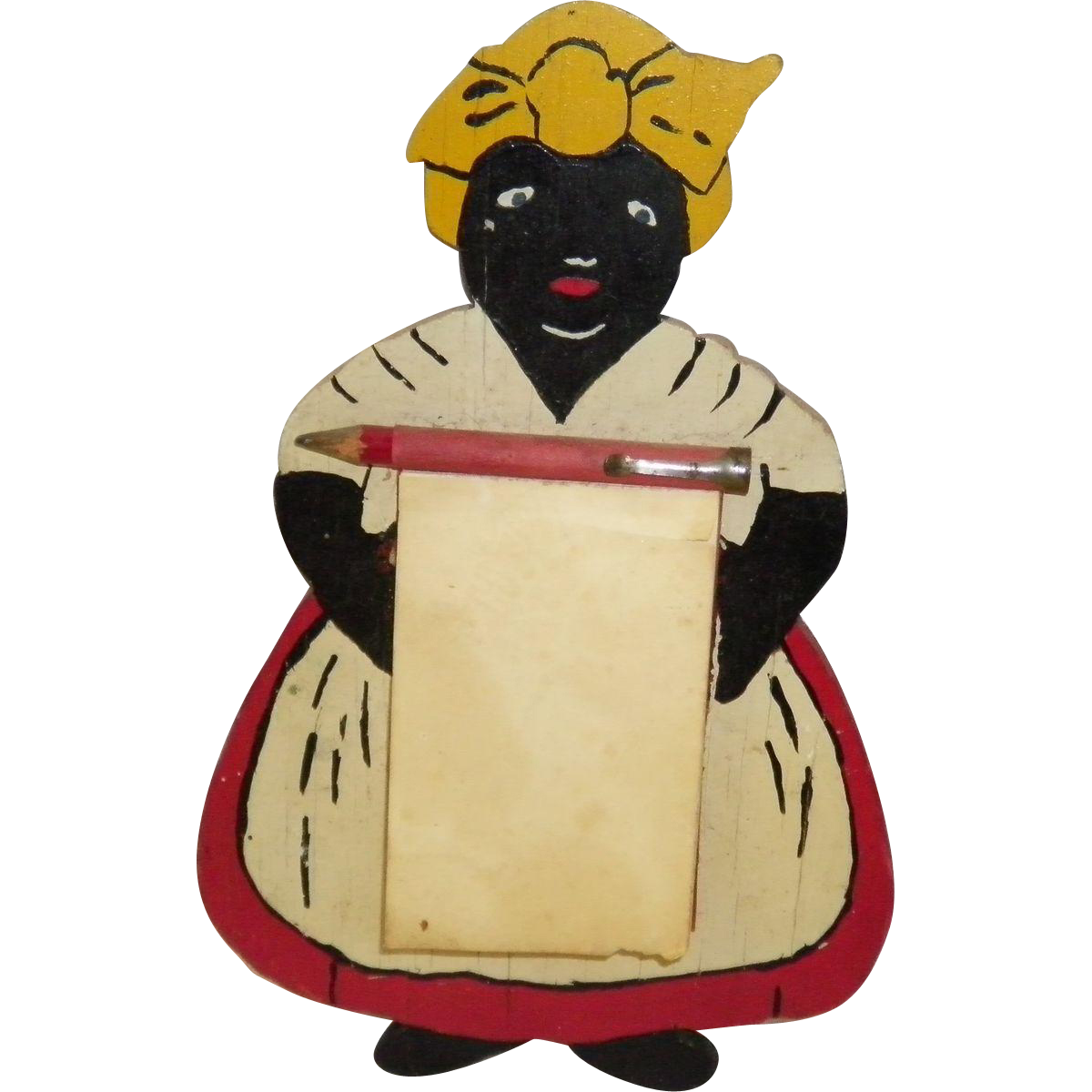 Vintage Black Americana Wooden Mammy / Aunt Jemima Note / Memo Pad