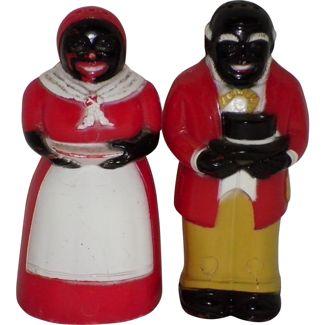 Aunt Jemina & Uncle Moses Salt + Pepper Shakers By F & F Mold & Die Works