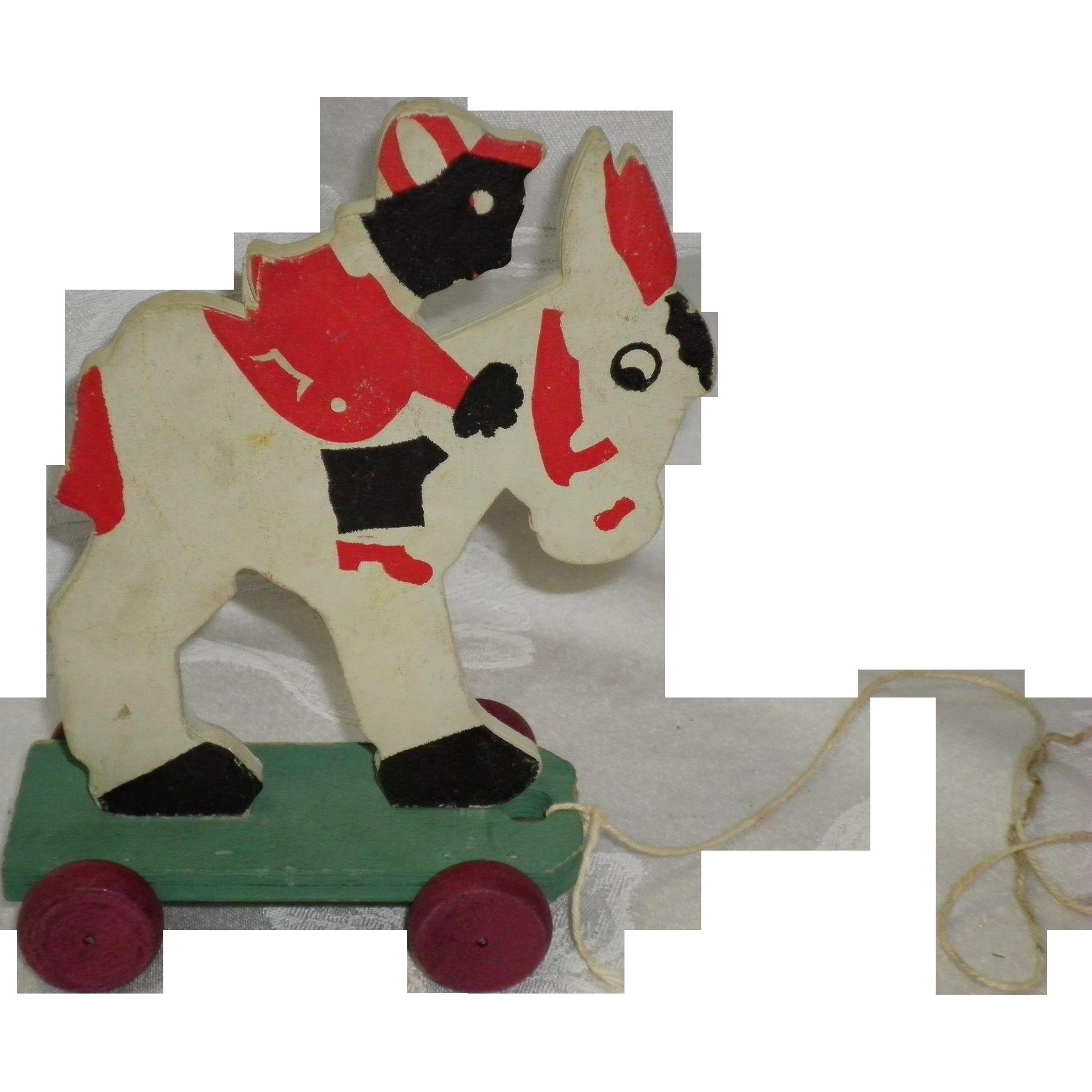 1930's Donkey & Rider Bumpa Pull Toys