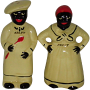 "1940's Black Americana ""Salty & Peppy"" Salt & Pepper Shakers Pearl China Co USA"