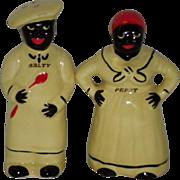 "1940's Black Americana ""Salty & Peppy"" Salt & Pepper Shakers Pearl China Co USA"