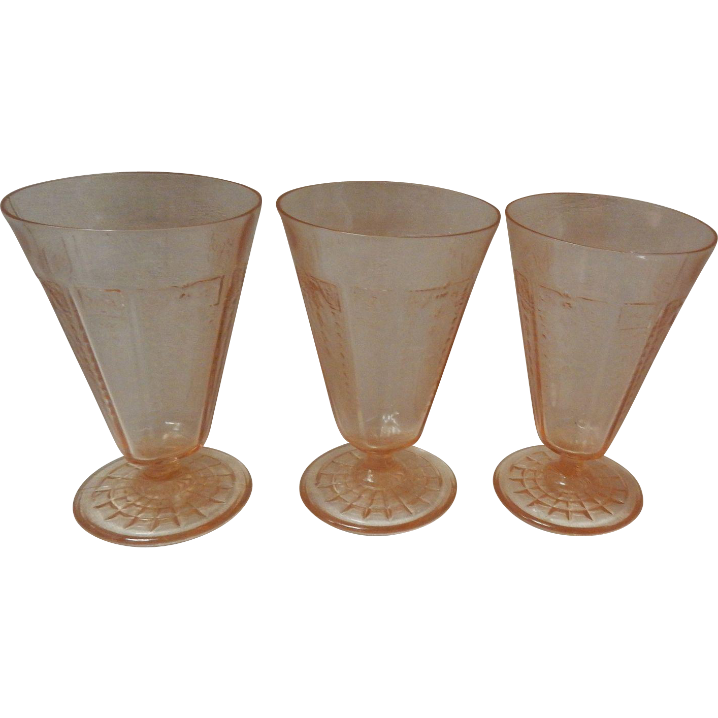 Set Of 3 Anchor Hocking Pink Princess Depression Tumblers Glasses