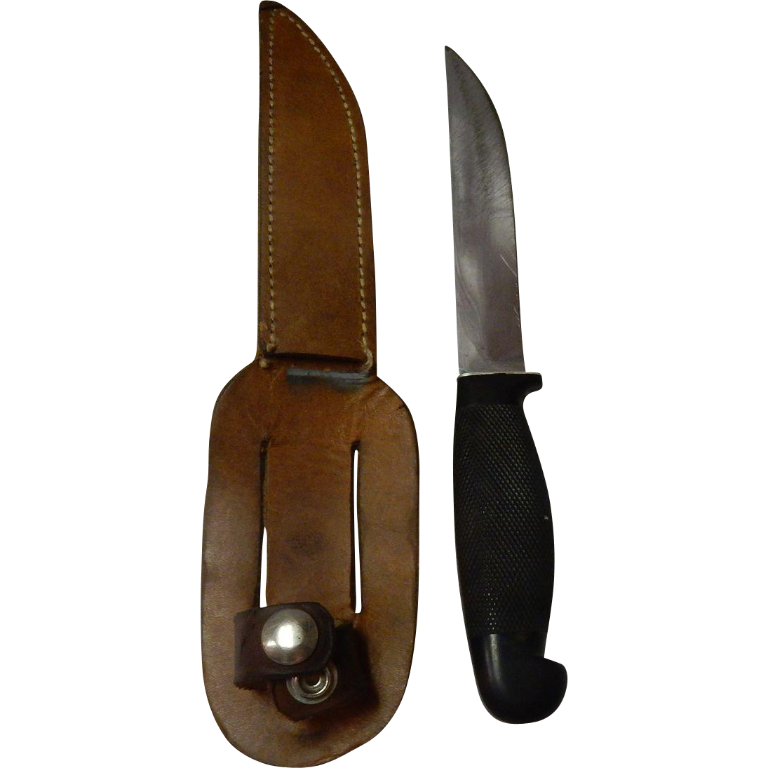 Vintage Cattaraugus Hunting Knife With Leather Sheath