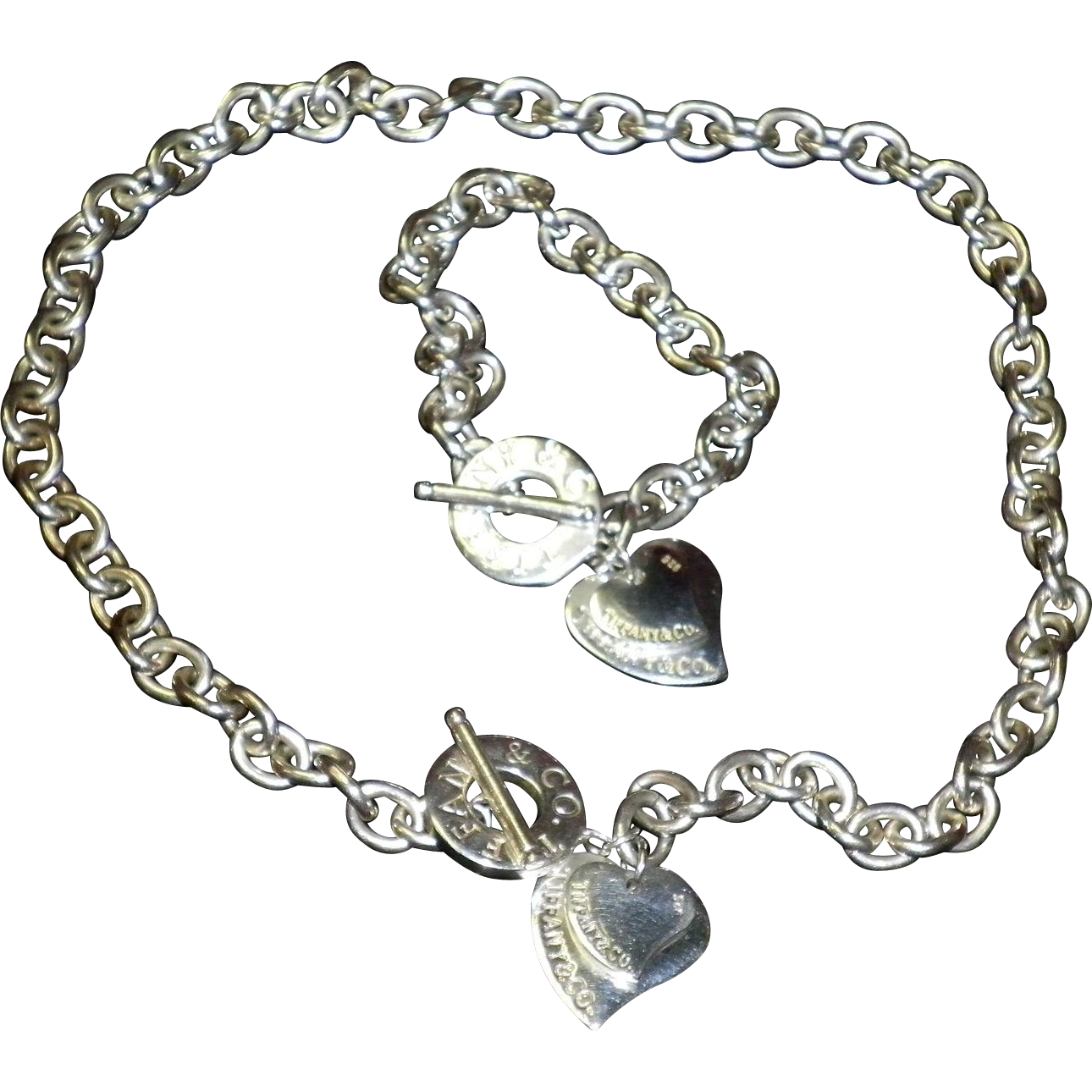 Tiffany Sterling Chain Necklace & Bracelet Set With Double Hearts.