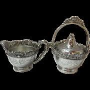 Middletown Plate Co Quadruple ornate Cream & Sugar Bowl