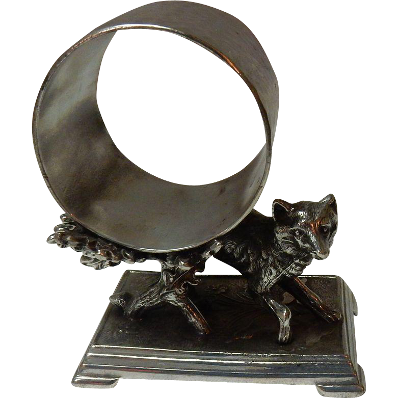 Derby Silver Co Figural Napkin Ring Holder Fox In The