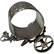 Meriden B. Silverplate Napkin Ring With Cart (Wheels)