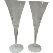 Set Of 2 Waterford Crystal Millennium Prosperity Wheat Champagne Flutes