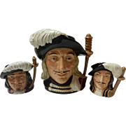 "Royal Doulton ""The 3 Musketeers"" Athos, Porthos & Aramis Toby Jugs -1955"