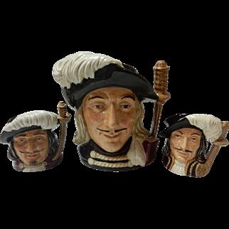 "Royal Doulton ""The 3 Musketeers"" Athos Porthos & Aramis Toby Jugs 1955"