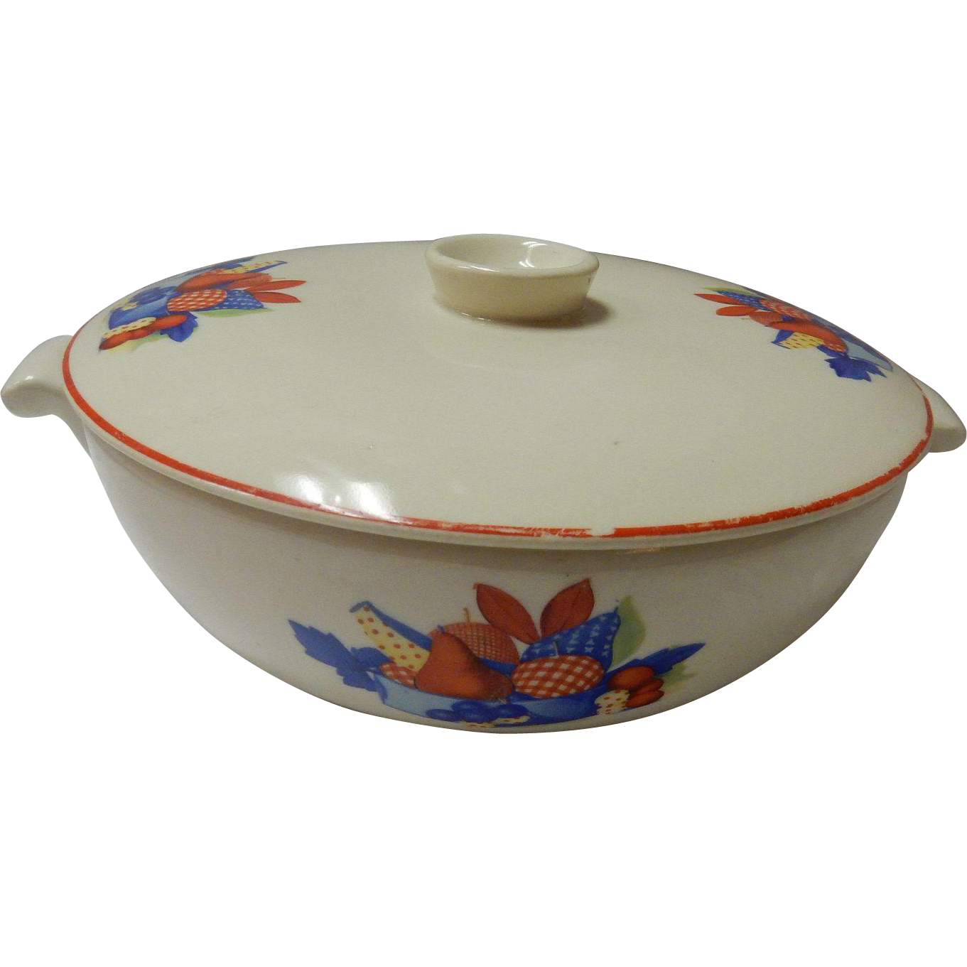 "Calico Fruit 8"" Covered Covered Casserole Dish Universal Cambridge Pottery"