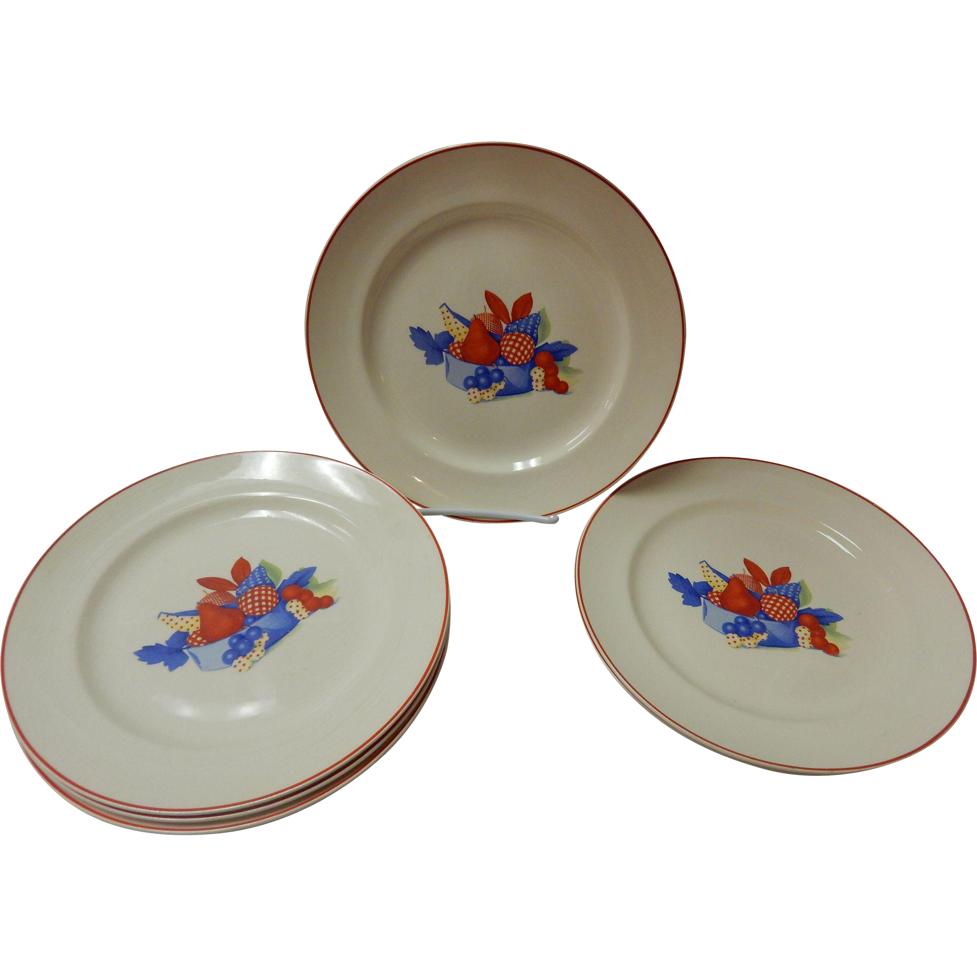 Set Of 6 Calico Fruit Dinner Plates Universal Cambridge Pottery