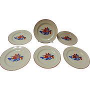 Set Of 6 Calico Fruit Bread Plates Universal Cambridge Pottery