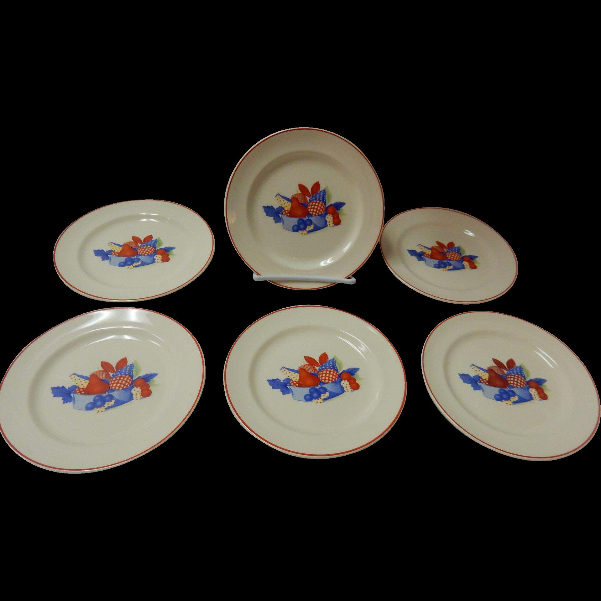 Set Of 6 Calico Fruit Bread Plates Universal Cambridge Pottery