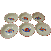 Set Of 6 Calico Fruit Berry / Fruit Bowls Universal Cambridge Pottery