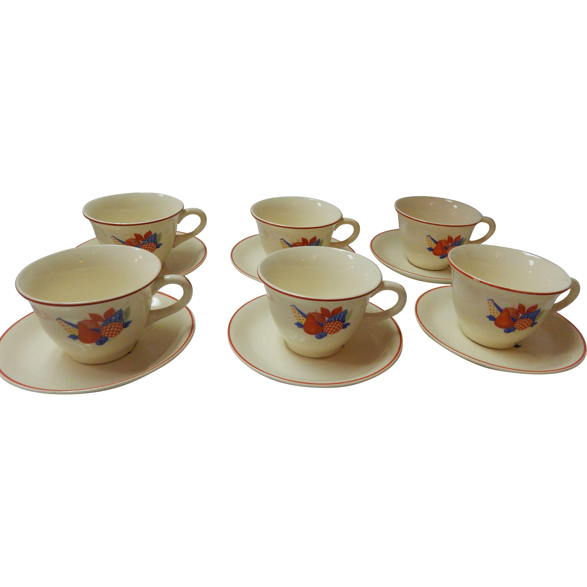 Set Of 6 Calico Fruit Cups & Saucers Universal Cambridge Pottery
