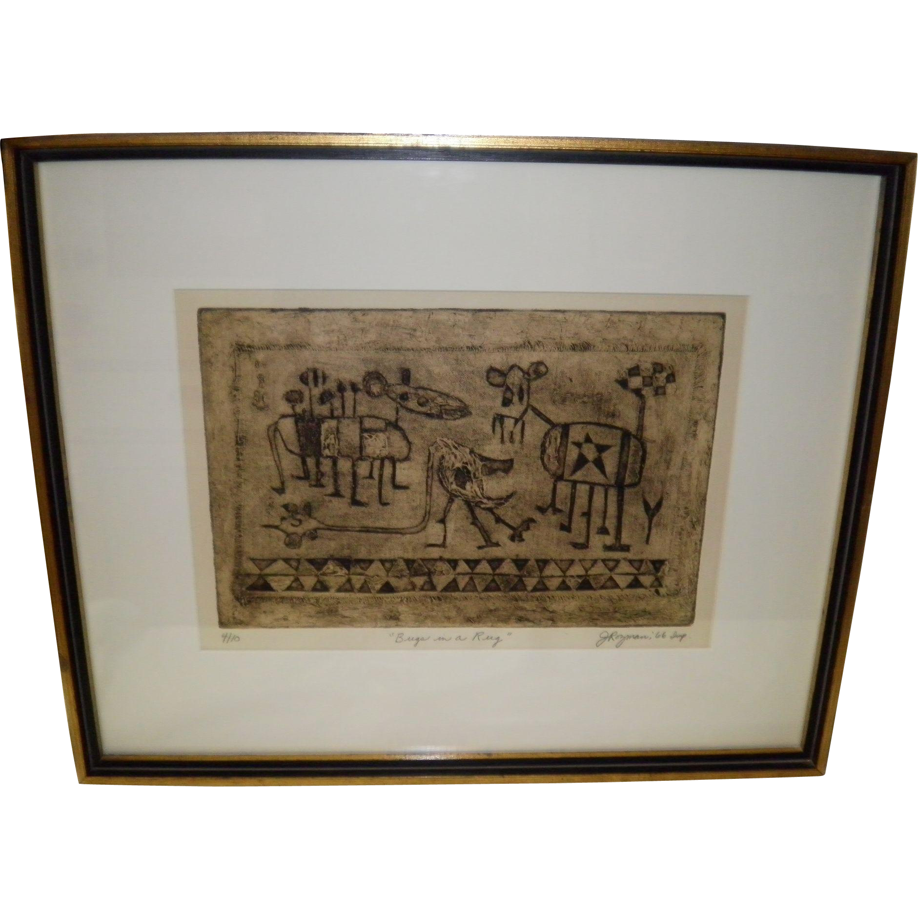 "Joseph Rozman Framed Collagraph Print Signed ""Bugs In A Rug"" 1966"