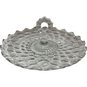"""American Fostoria 12"""" Glass Tray With Center Handle"""