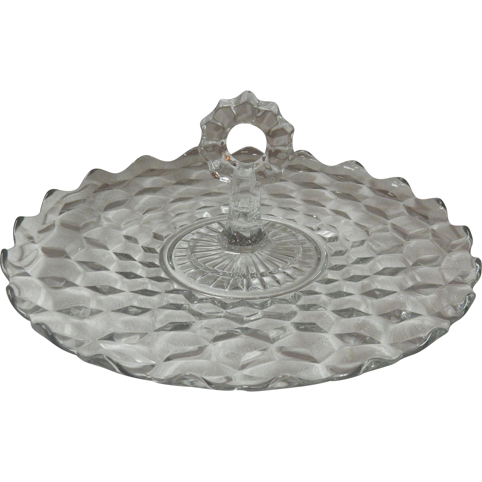 "American Fostoria 12"" Glass Tray With Center Handle"