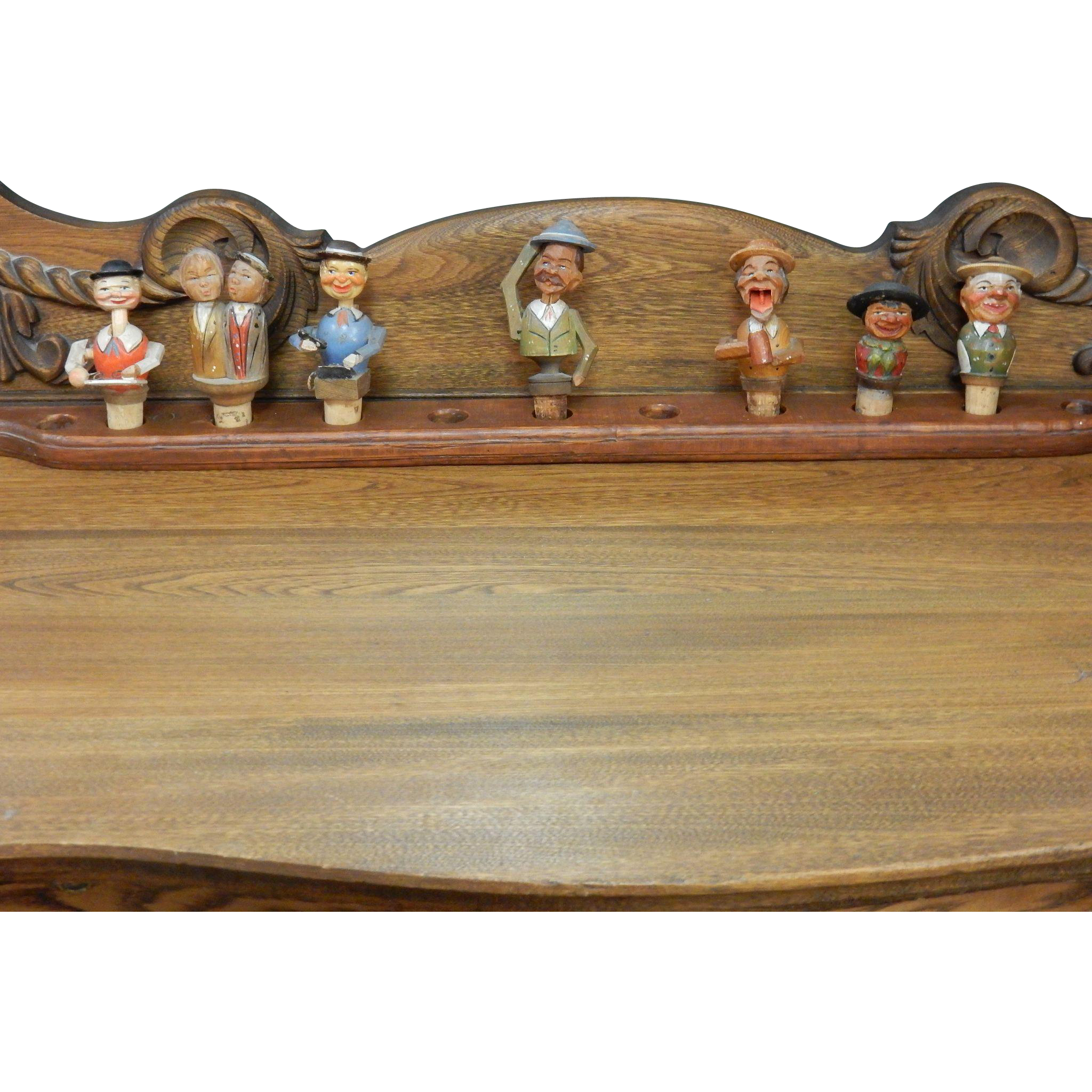 7 Hand Carved Bottle Cork Stoppers With Rack Holder