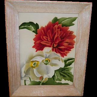 "Signed Benjamin Jorj Harris Watercolor ""Flowers"""