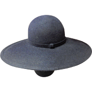 Navy Blue Wide Brim Felt Hat By Anita Pineault