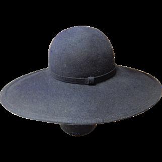 Navy Blue Wide Brim Felt Hat By Anita Pineault