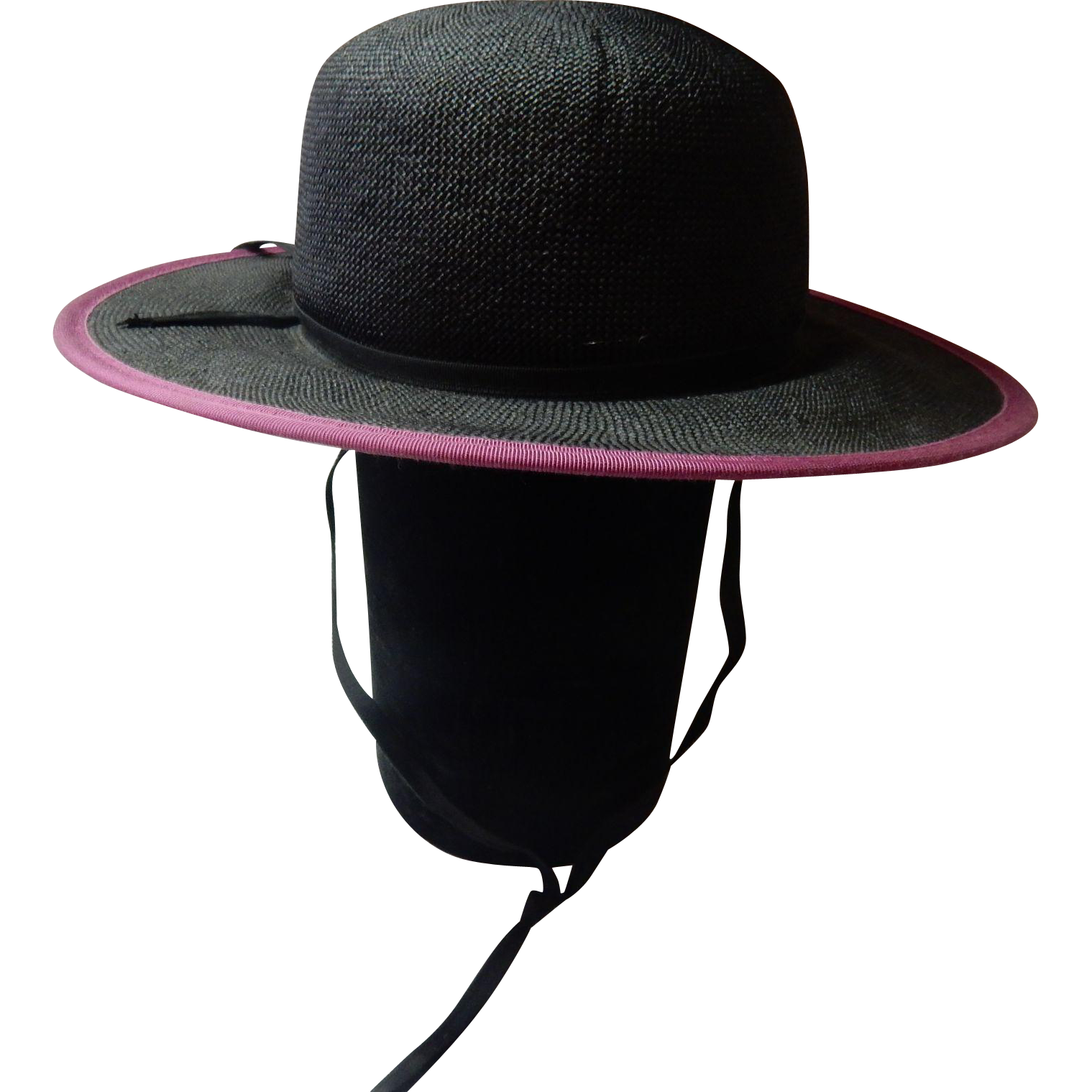 Black Straw Hat With A Mauve Color Trim By Miss Bierner With Original Tag