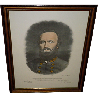 """Stonewall"" Thomas Jackson Color Mezzotint Framed Portrait"
