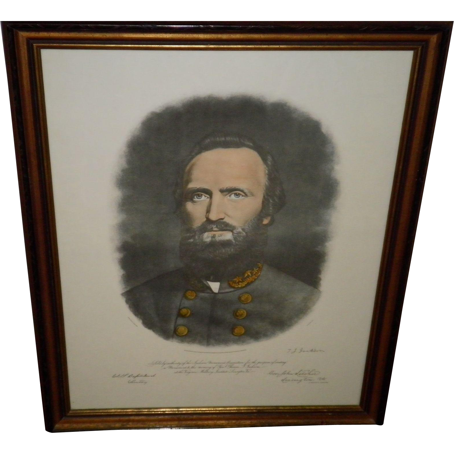 """Stonewall"" Thomas Jackson Color Mezzotint Framed Portrait"
