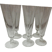 Set Of 6 Clear Glass Footed Pilsner Beer Glasses