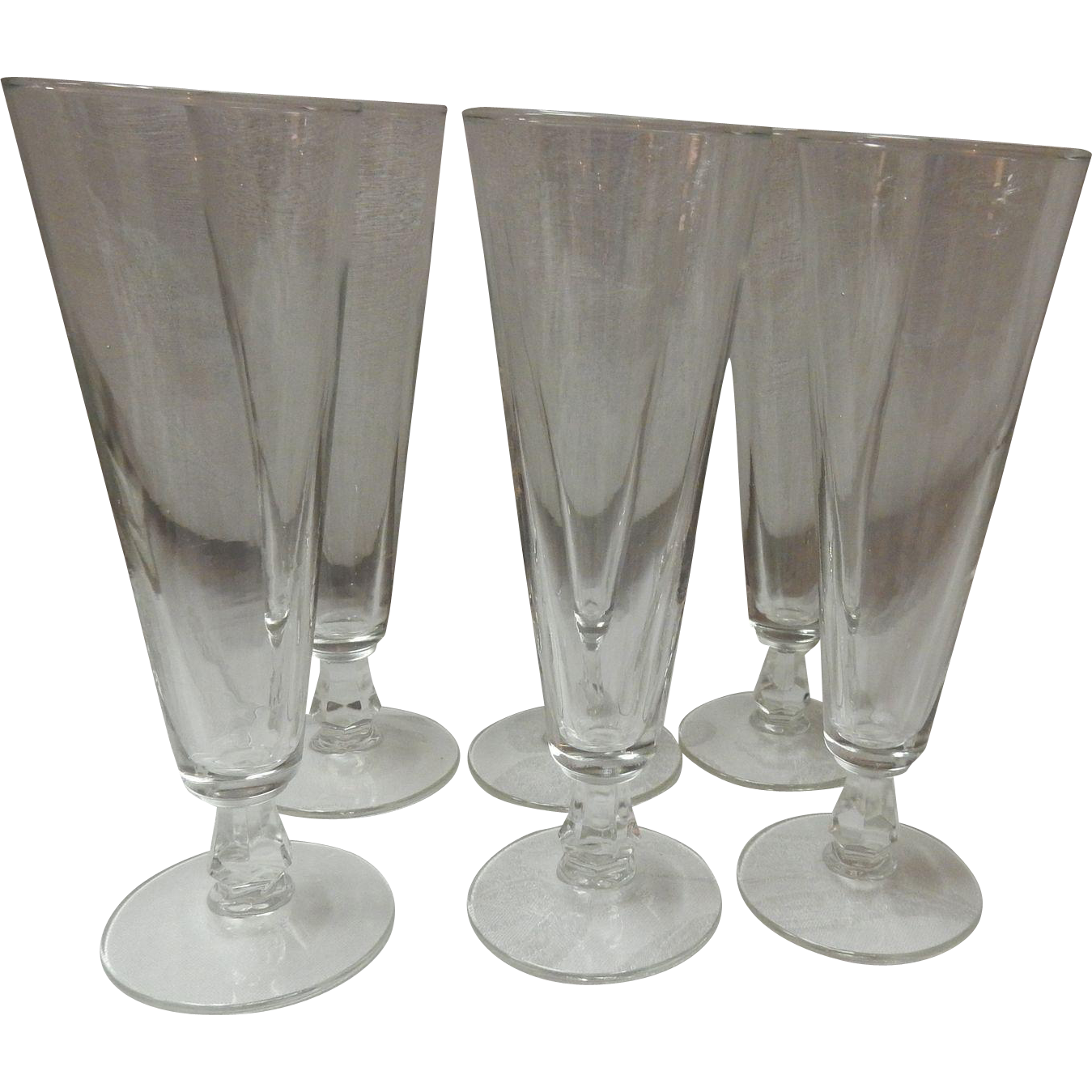 Set Of 6 Clear Glass Footed Pilsner Beer Glasses