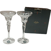 Set Of 2 Lenox Rhythm Crystal Candlesticks holders