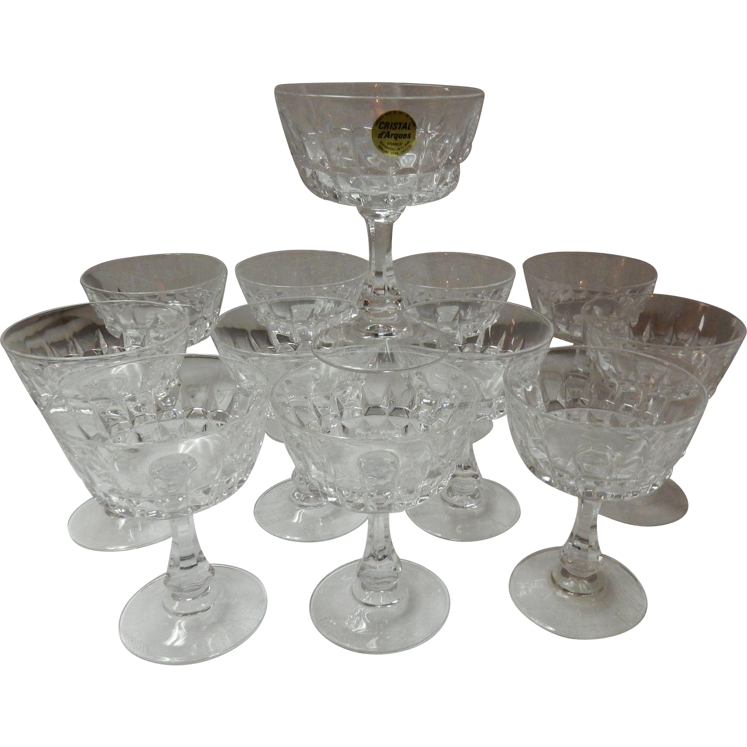 Set Of 12 Longchamp Crystal Champagne / Sherbet Glasses By Cristal D'Argues - Durand