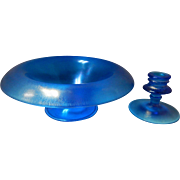 Steuben Aurene Blue Bowl & Candlestick Holder