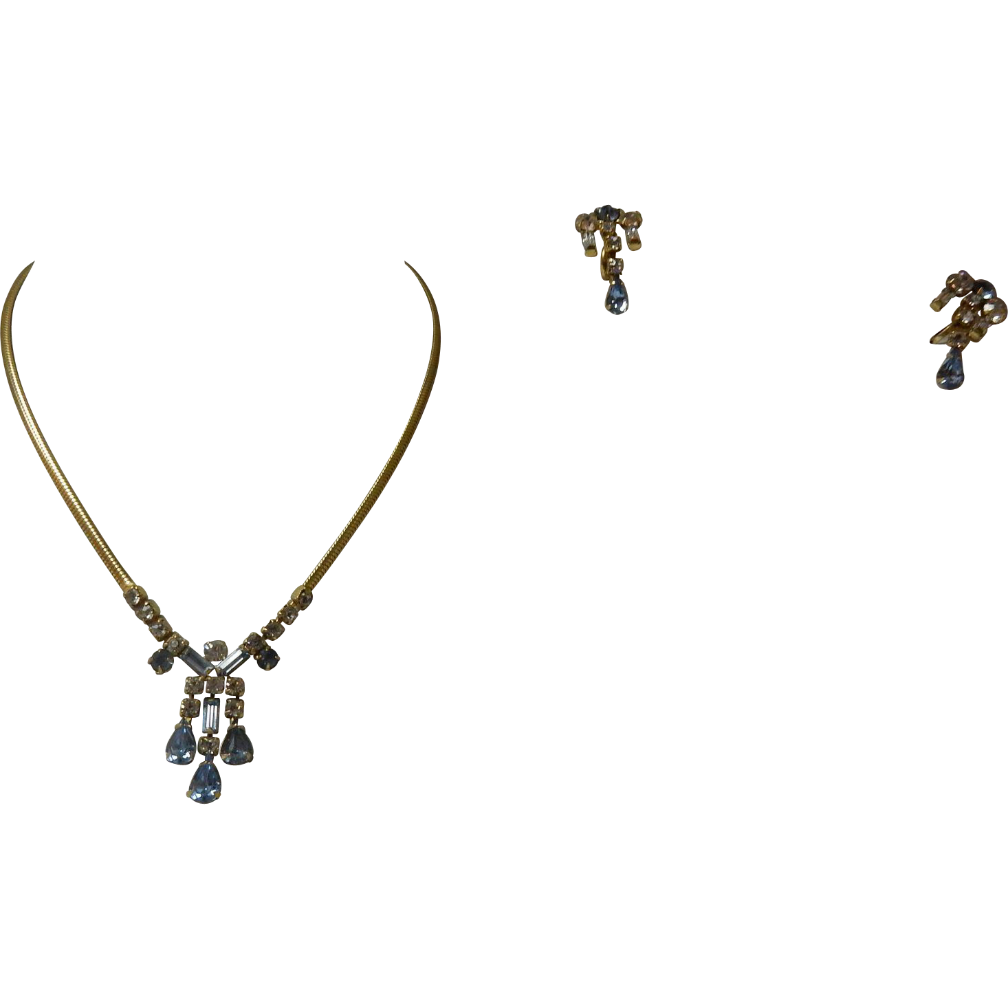 Vintage Leo Glass Blue Rhinestone Necklace And Earrings Set