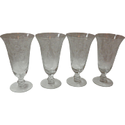Set Of 4 Etched Iced Tea Glasses By Fostoria