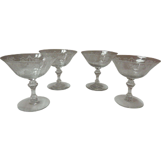 Set Of 4 Etched Champagne / Sherbet Glasses By Fostoria