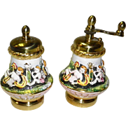 Vintage Capodimonte Salt Shaker & Pepper Mill / Grinder Set Made In Italy