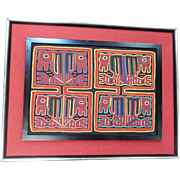 Framed Vintage Kuna Indian Mola Textile / Folk Art Panama